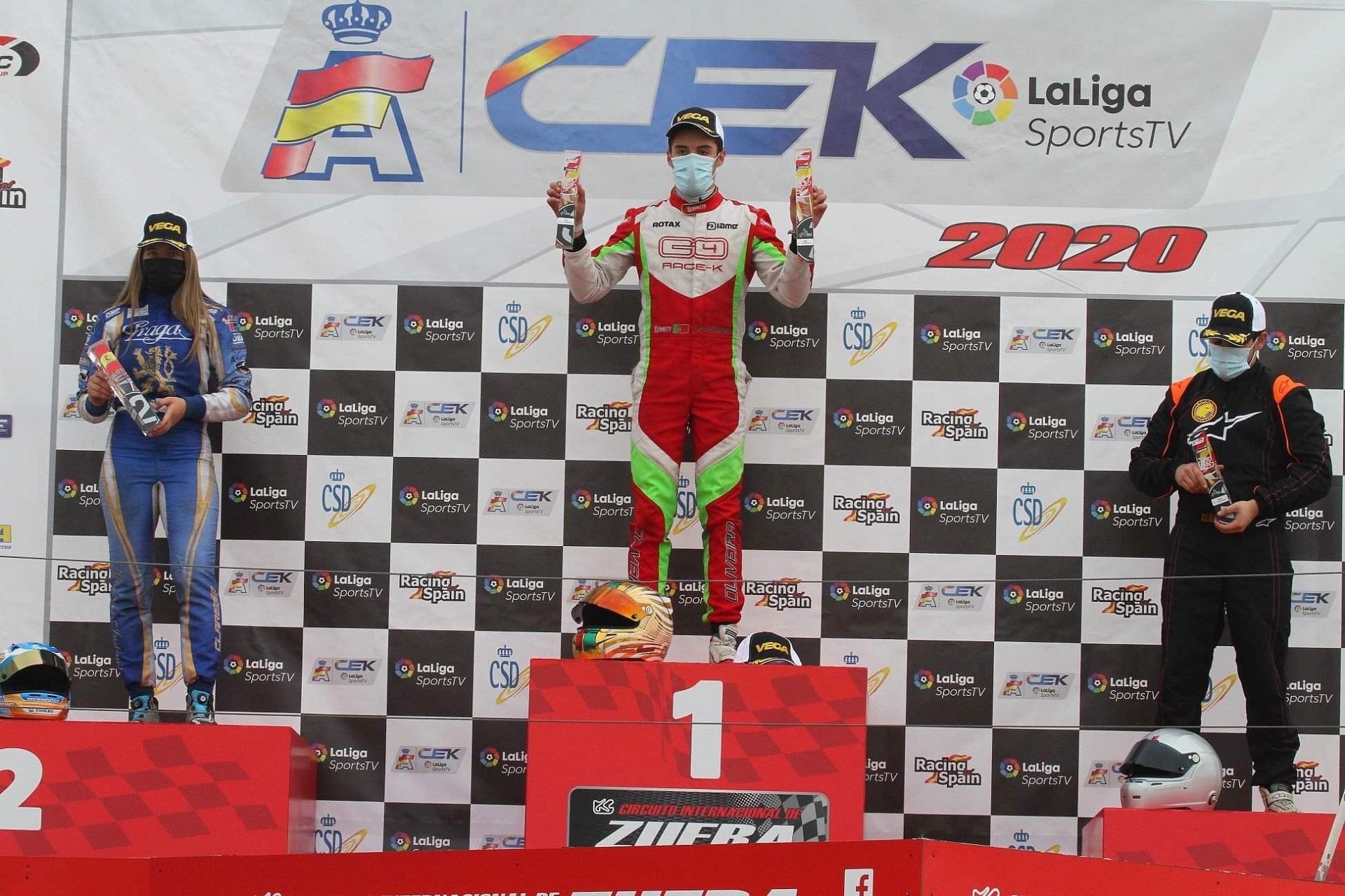 Guilherme de Oliveira garante lugar mais alto do pódio na categoria KZ2 em Espanha